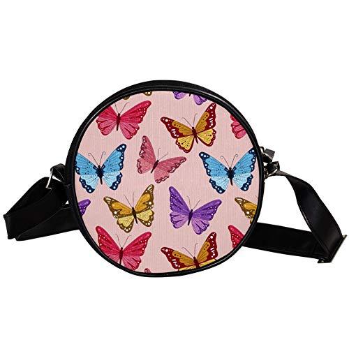 Bolso cruzado redondo pequeño bolso de las señoras de la manera bolsos de hombro bolso de mensajero bolsa de lona bolsa de cintura accesorios para las mujeres - nubes mariposas volando