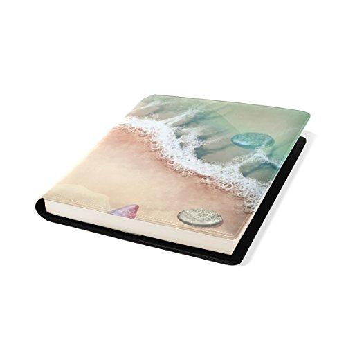 Coosun Sea Shore und Starfish Buch Sox dehnbar Buchcover, passt die meisten Hardcover-Bücher bis zu 9 x 11. Klebstoff-frei, Pu Leder Schulbuch Protector