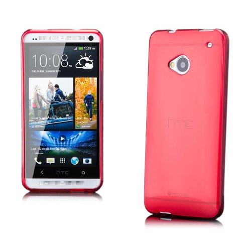 iCues HTC One M7 |  Transparent TPU Case Rot | [Display Schutzfolie Inklusive] Transparent Klarsichthülle Durchsichtig Klare Klarsicht Silikon Gel Schutzhülle Hülle Cover Schutz