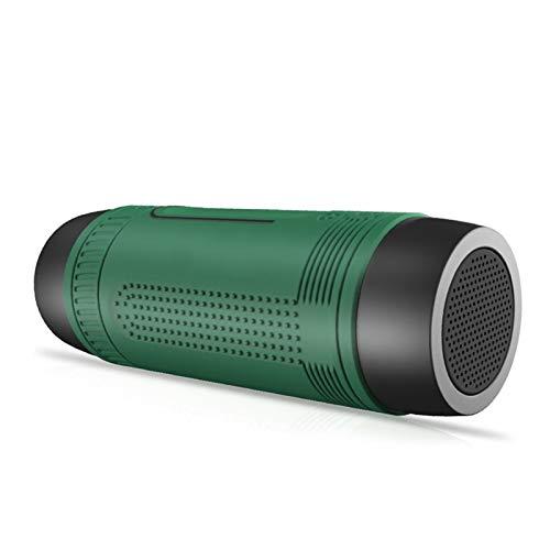 WTBH Altavoces portátiles Altavoz Bluetooth portátil Impermeable al Aire Libre del Altavoz inalámbrico de Bicicletas Tarjeta de la Ayuda Radio de FM, AUX, Linterna (Color : Green)