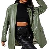 Glosun Chaqueta de cuero sintético para mujer con botones de gran tamaño Vintage PU cuero solapa chaqueta Y2K Streetwear, verde, L