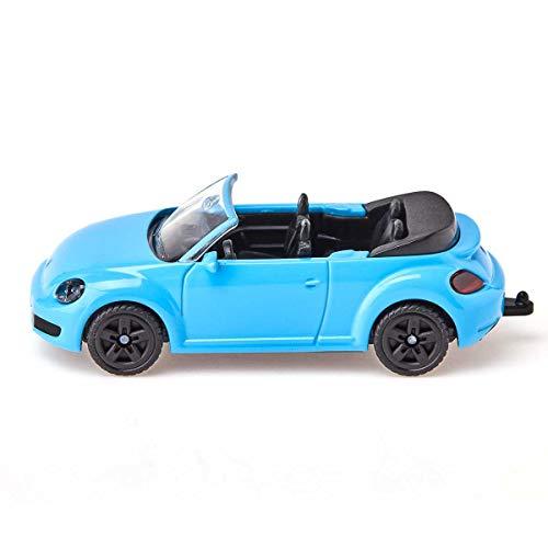 siku 1505, VW The Beetle Cabrio, Metall/Kunststoff, Hellblau, Spielzeugauto für Kinder, Anhängerkupplung