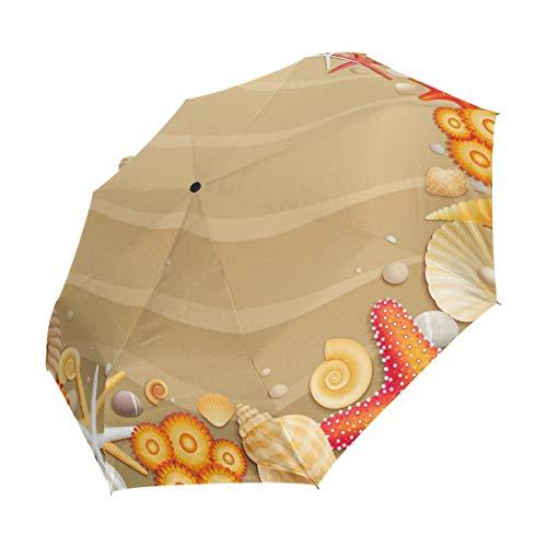 Ahomy Winddichter Reise-Regenschirm, tropischer Strand, Sandmuscheln, Seesternen-Regenschirme, automatische Öffnung, Rutschfester Griff und Schutzhülle