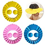 Pengxiaomei 3Pcs Baby Shower Caps,3 Colors Baby Bathing Hat Kids Adjustable Shower Cap Kids Wash Hair Shield with Ear Protection