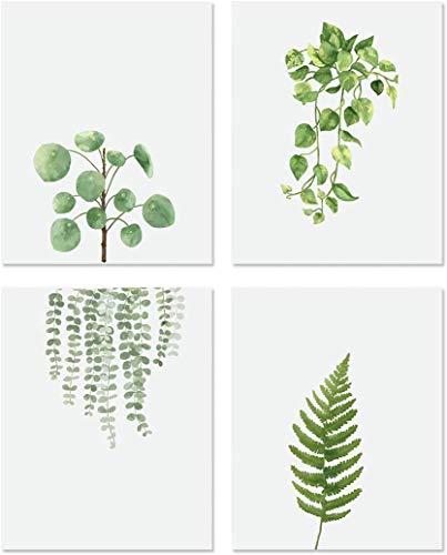 IARTTOP 4er Set Wohnzimmer Posters   Aquarell Grüne Blatt Blätter Deko   Moderne Grüne Pflanze Wandkunst   Leinwand Malerei Wandbilder für Schlafzimmer Büro Badezimmer...