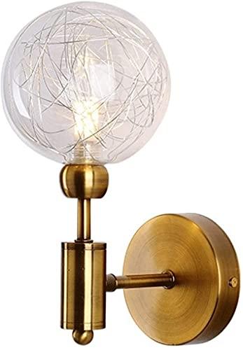 JPL Lámparas novedosas, lámpara de pared Siet con pantalla de globo de cristal, lámpara de pared dorada, lámpara de pared medieval, lámpara de pared interior G9 para...