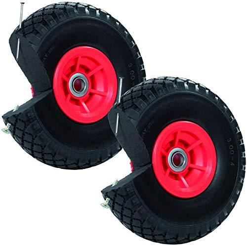 2x Sackkarrenrad Pannensicher 260x85 mm 3.00-4 PU Sackkarre Ersatzrad Rad Reifen