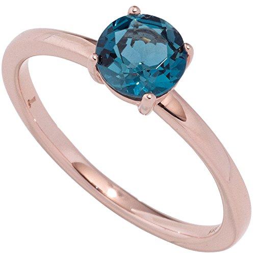 JOBO Damen-Ring aus 585 Rosegold mit Blautopas Größe 50