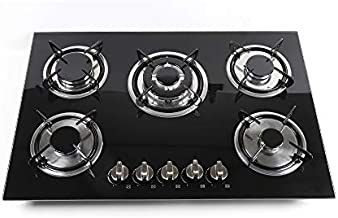 Gas Cooktop, 30 Inch Built In Gas Rangetop with 5 High Efficiency Burners, NG/LPG Convertible Stainless Steel Gas Stove Top with Thermocouple Protection
