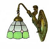 Apliques de pared Lámpara de pared de 5.9 pulgadas estilo Tiffany Lámpara de pared de vitral verde Lámpara de pared de cabezal simple Lámpara de pared de tazón de sombra industrial Lámpara de pared