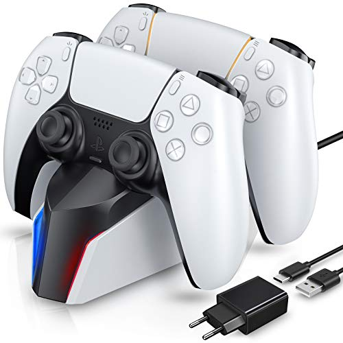 ECHTPower Cargador para Mandos PS5, Estación de Carga PS5 con LED Indicador y Adaptador de Corriente, Carga Rápida, Base de Carga para Sony Mando Playstation 5