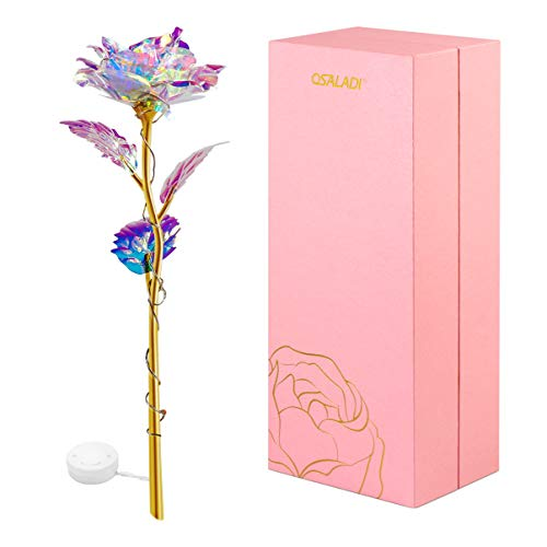 OSALADI Colorful Luminous Rose Artificial Light Gifts Mothers Day Thanksgiving Valentines Day Girls Birthday Party, Best Gifts for Wife Girl Friend