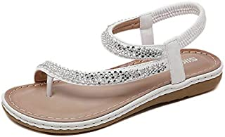 CHENDX New Women's Sandals Bohemian Retro Rhinestone Sequins Female Sandals Large Size Rubber Sole Comfortable Slippers Beach Shoes