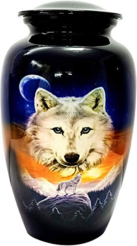 """hlc URNS Lovely Wolf Blue Cremation Urn for Human Ashes - Adult Funeral Urn Handcrafted - Affordable Urn for Ashes (Adult (200 lbs) – 10.5 x 6 """", Lovely Wolf Blue Cremation Urn)"""