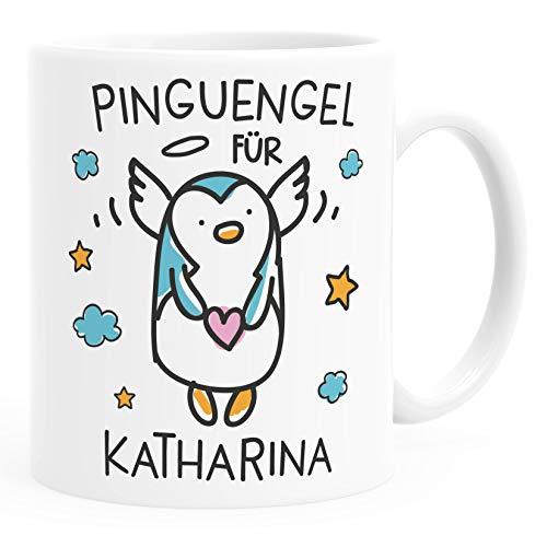 SpecialMe® personalisierte Kaffeetasse Pinguengel Engel Pinguin Schutzengel mit Name Namenstasse Glücksbringer Geschenk uni - weiß Keramik-Tasse