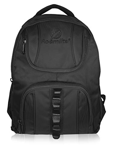 Roamlite Children's School Backpack - Strong Waterproof Bag with Multiple Pockets and Padded Back - Nylon 44 cm 25 Litre - Plain Black - RL18KKA