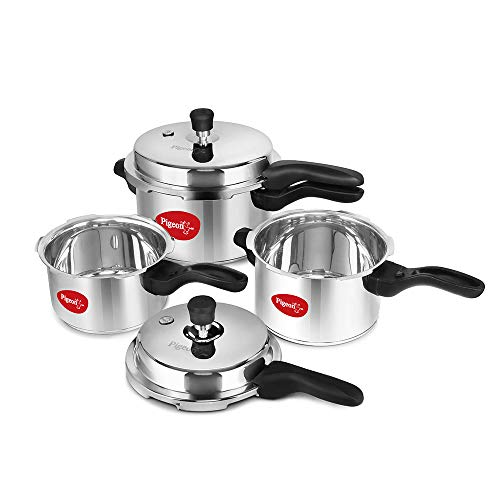 Pigeon by Stovekraft 12739 Induction Base Outer Lid Stainless Steel Pressure Cooker Combo, 2L, 5L, 3L, Silver