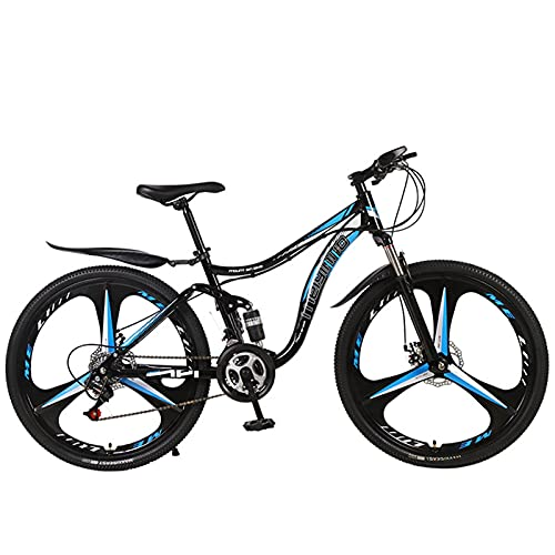Youth/Adult 21-speed 26 Inch 3 Cutter Wheel One-wheel Multifunctional Mountain Bike, Front Suspension Of Mountain Cross-country Bike, Multiple Colors, Anti-slip Resin Pedals, High-carbon Steel Frame,f