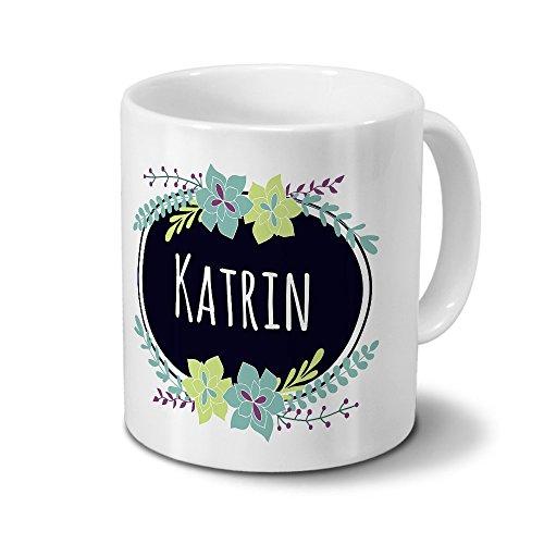 printplanet Tasse mit Namen Katrin - Motiv Flowers - Namenstasse, Kaffeebecher, Mug, Becher, Kaffeetasse - Farbe Weiß