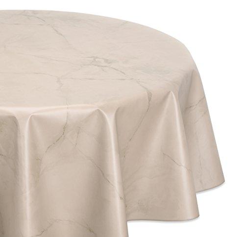BEAUTEX Wachstuchtischdecke abwischbar, OVAL RUND ECKIG, fleckenabweisende Gartentischdecke Marmorstein, zuschneidbare Wachstuch Tischdecke (Rund 140 cm, Beige)