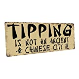PotteLove Tipping Sign - Rustic Metal Sign Tin Plaque Aluminum Wall Poster for Garage Man Cave Cafe Bar Pub Club Caffee Beer Patio Home Decoration 12'X4'