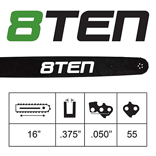 8TEN Chainsaw Guide Bar for Stihl 010 017 023 MS 150 170 210 230 250 3005 000 4813 16 inch .050 3/8 55DL
