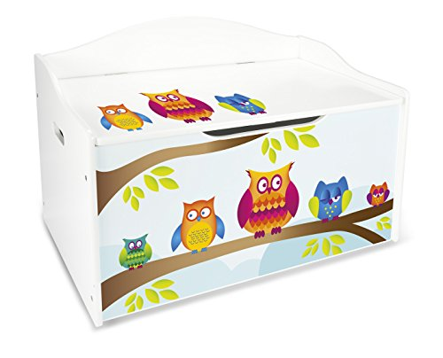 Leomark Large XL Wooden Storage Box with Bench Seat for Children Room, Owls' UV Print.