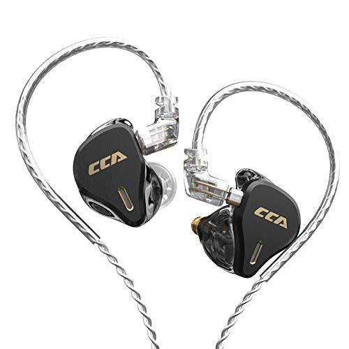 CCA CS16 in-Ear Monitors, 16BA Reference HiFi Stereo IEM Wired Earphones/Earbuds/Headphones with Detachable Cable 2Pin for Musician Audiophile (with Mic, Black)