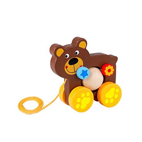 Tooky Toy Jeux en bois - Jouet en bois à tirer Ourson, Multicolore
