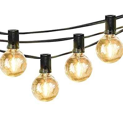 Outdoor LED String Lights Dimmable - 23Ft G40 Globe Bulbs, Edison Vintage Bulbs Hanging Sockets, Decorative Lighting for Café Patio Porch Party Yard Christmas