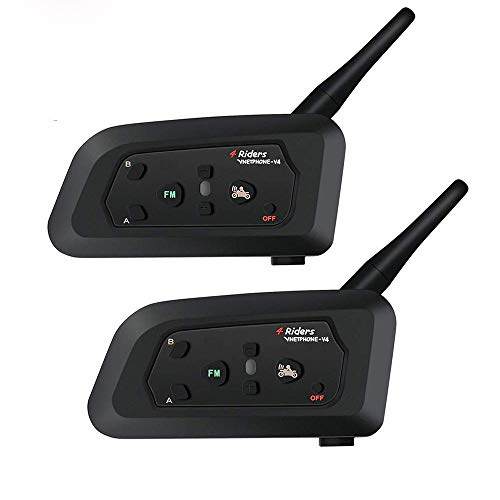 Great Price! 2 PCS Vnetphone V4 Bluetooth 3.0 Intercom Motorcycle 4 Riders Helmet Waterproof Interph...