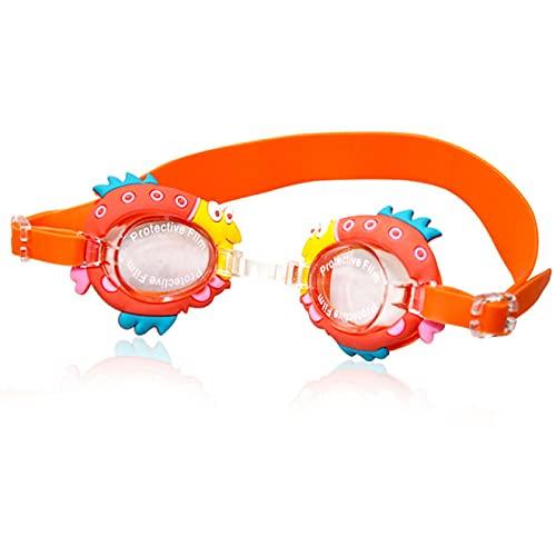 Lsdnlx Gafas de natación,Niños Gafas de natación Adolescentes HD Silica Cute Cartoon Impermeable Anti Niebla