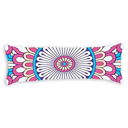 Funda de almohada para el cuerpo de 1,8 m, diseño bohemio, color blanco, verde