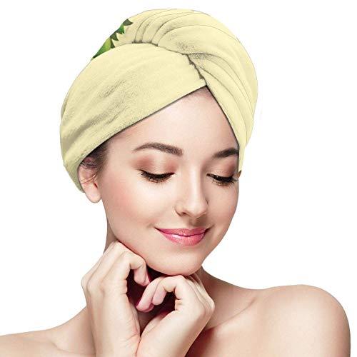 Enveloppement pour cheveux à séchage rapide, dinde avec feuillage vert Happy Expression et feuilles fraîches, bonnet de douche absorbant