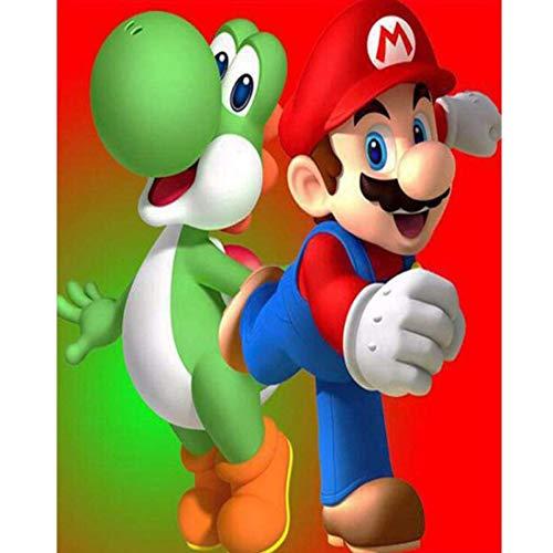 5D Pintura De Diamante,Super Mario pintura de bordado de diamantes de cristal...
