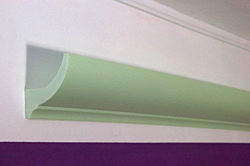 LED Stuckleiste - Stuck-Profil Lichtleiste für indirekte Beleuchtung Decke aus Hartschaum 75x90mm DBKL-75-ST von BENDU