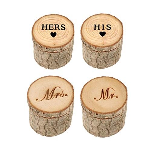 PRETYZOOM 4 stks Houten Bruiloft Ring Houder Doos Rustieke Oorbellen Hout Organizer Hers ZIJN MR MRS Gedrukt Mini Sieraden Doos voor Bruiloft Valentijnsdag Verjaardagscadeaus