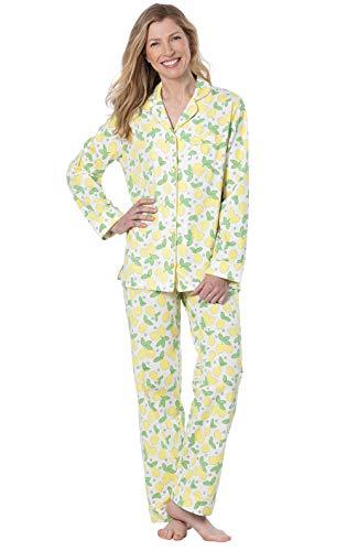 PajamaGram PJ Sets for Women - Soft Cotton Pajamas Women, Yellow, X-Small / 2-4