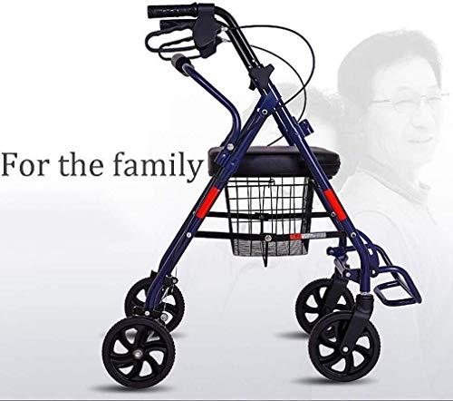 Ouderen walker Loophulpmiddelen for senioren, rechte houding Rolling Walker, lichtgewicht opvouwbare aluminium Rollator Walker Met Comfort Seat, Walker Uw beste keuze Walker revalidatie walker