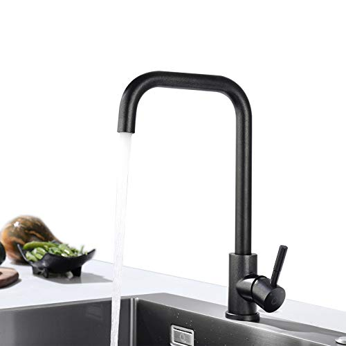 CECIPA Grifo de Cocina Negro Perla Mezclador de Fregadero Giratorio Flexible de 360°Grifos de Cocina de Acero Inoxidable 304 Pintura de Cocina Resistente a la corrosión