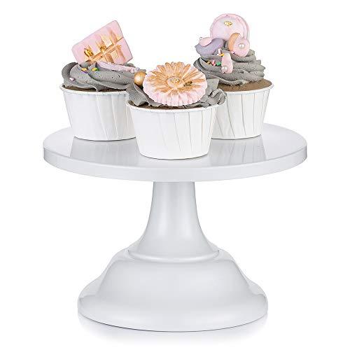 Nuptio Bases para Tartas de Blanco Soporte Cupcakes de Boda 20cm Cake Stand Redondo para Fiesta de Cumpleaños Aniversario de Boda Baby Shower