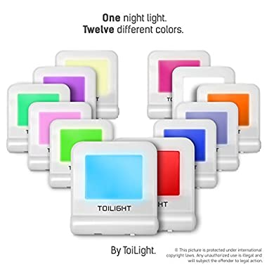Bright Colored LED Bedroom Nightlight: 12 Color Plug in Night Lights with Sensor for Children & Adults - Wall Outlet Nightlights for Toddler Nursery, Bathroom, Kids Room, Hallway & More - 2 Light Pack
