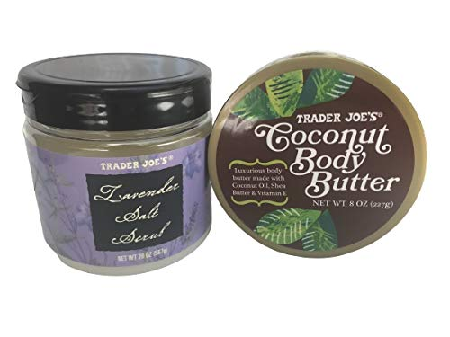 Trader Joe's Lavender Salt Scrub (20 oz) and Coconut Body Butter (8 oz) Duo Gift Set Including Two Birchwood Compostable Concave Spoons