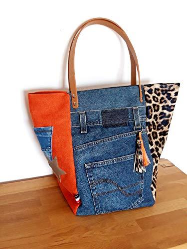 Sac cabas patchwork en jean recyclé