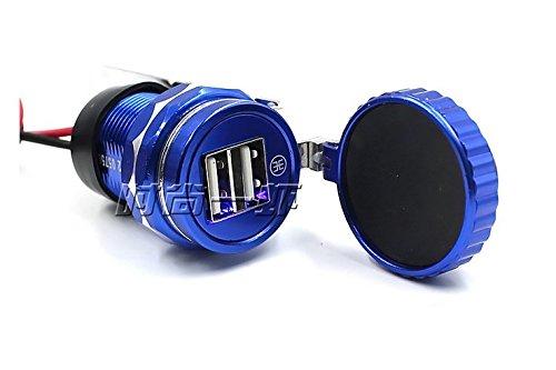 Chargeur De Téléphone Portable pour Moto Et Voiture, Corps en Aluminium, Adaptateur Étanche Usbx2 2.1A + 1A Bleu Orange Noir,Blue