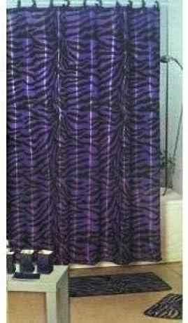 dark purple zebra stripe shower curtain