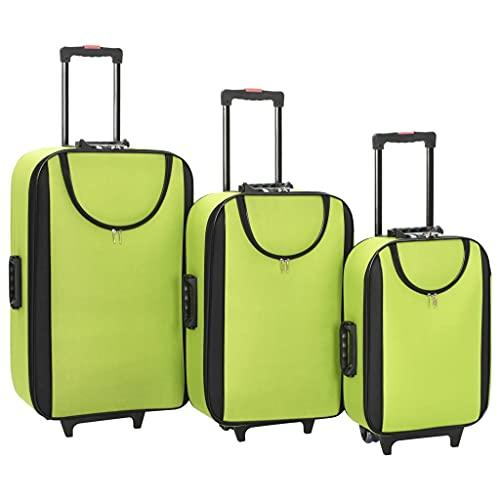 HUANGDANSP Maletas Blandas 3 Piezas Verde de Tela Oxford Maletas y Bolsos de Viaje Maletas