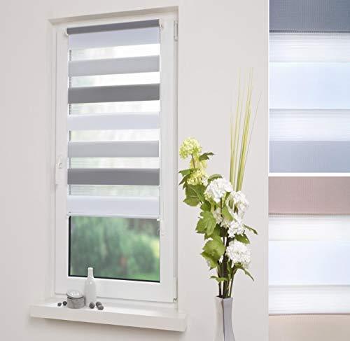 DECOLIA Klemmfix- Duorollo, Doppelrollo 3-farbig mit verstellbaren Klemmträgern, Breite: 80 cm/Länge: 150 cm, Farbe: weiß-hellgrau-grau
