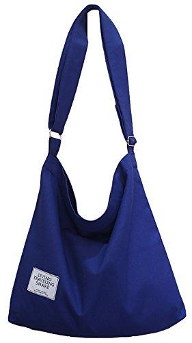 Covelin Women's Retro Large Size Canvas Shoulder Bag Hobo Crossbody Handbag Casual Tote Blue
