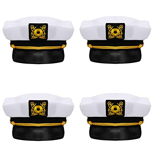 Bottles N Bags Captain's Yacht Sailors Hat (4 Pack) Captain's Hats are A Great Family Cruise Accessory for Men, Women, Teens, Kids ● Black & White Yacht Hat Set for Parties